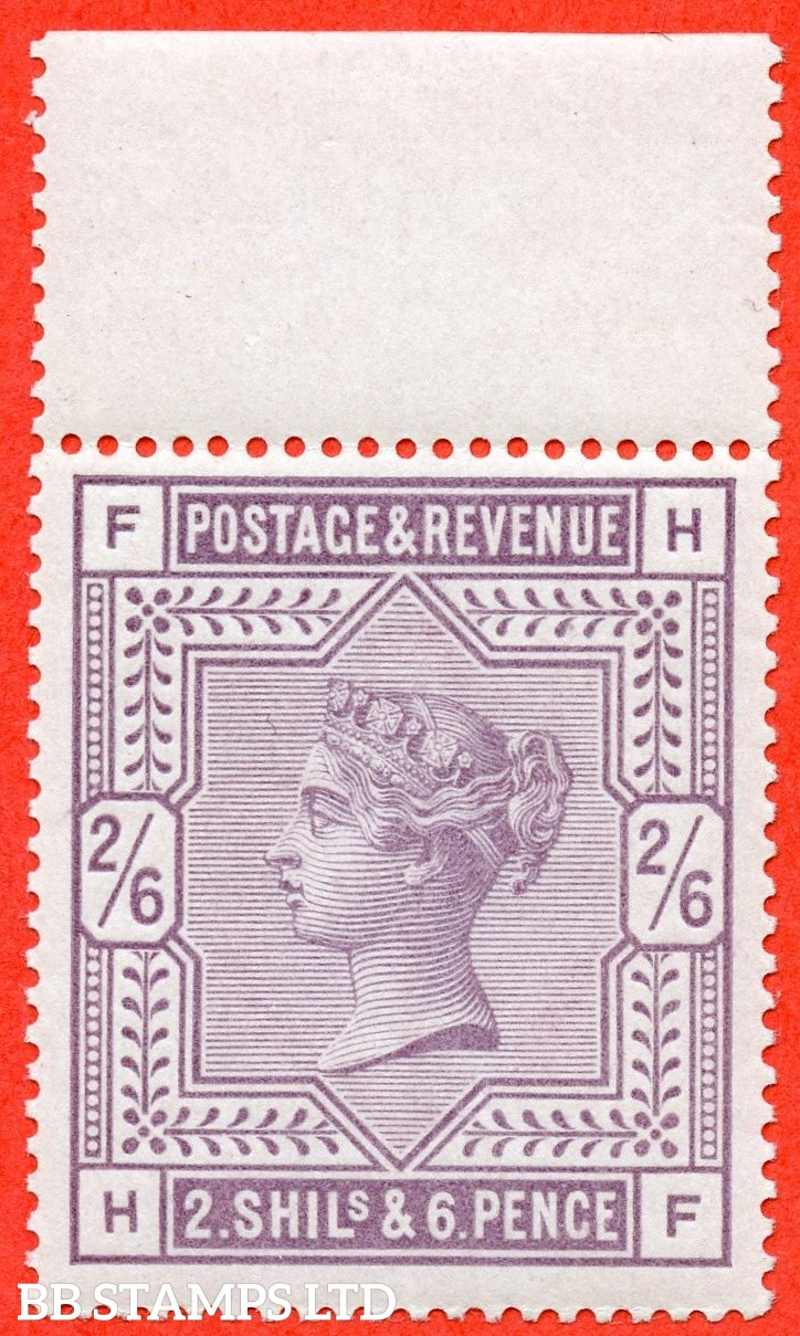 "SG. 178. K10 (1). "" HF "". 2/6 Lilac. A superb UNMOUNTED MINT top marginal example complete with BPA certificate."