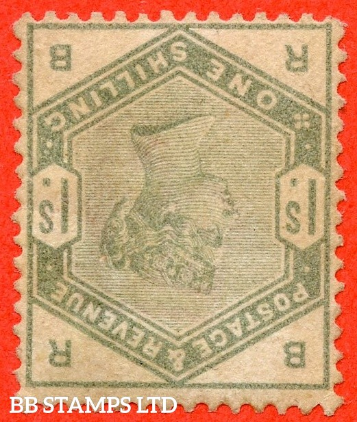"SG. 196 wi. K26 b. "" RB "". 1/- dull green. INVERTED WATERMARK. A decent mounted mint example of this RARE watermark variety this being the 1st example we have seen in 32 years."