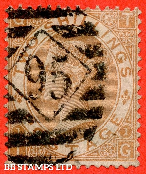 """SG. 121. J120. """" TG """". 2/- Brown. A good used example of this scarce Victorian issue."""