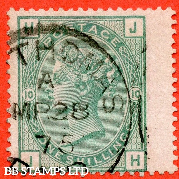 """SG. 150. J110. Z30. """" JH """". 1/- green. Plate 10. A fine """" 28th March 1875 ST. THOMAS """" CDS used example. A nice USED ABROAD example."""