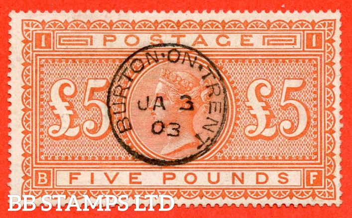 """SG. 137. J128a. """" BF """". £5.00 Orange. A superb """" 3rd January 1903 BURTON ON TRENT """" CDS used example."""