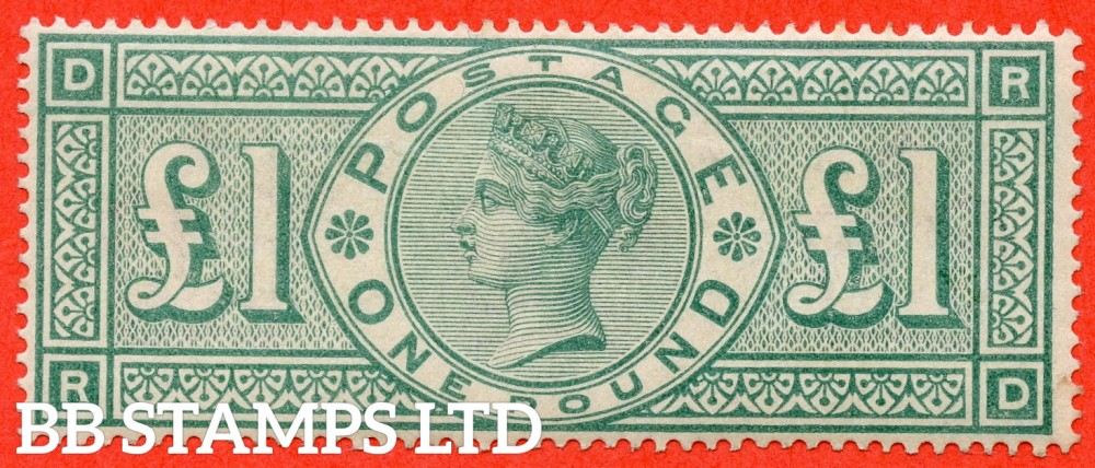"SG. 212. K17. £1.00 Green "" RD "". A fine lightly mounted mint example of this popular stamp."