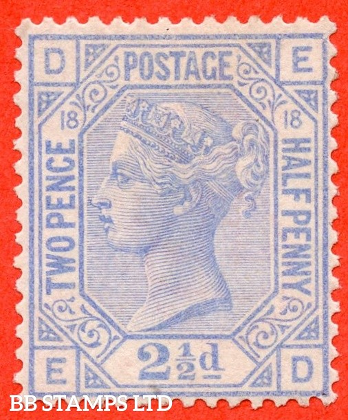 """SG. 142. J20. """" ED """". 2½d blue. Plate 18. A super UNMOUNTED MINT example."""
