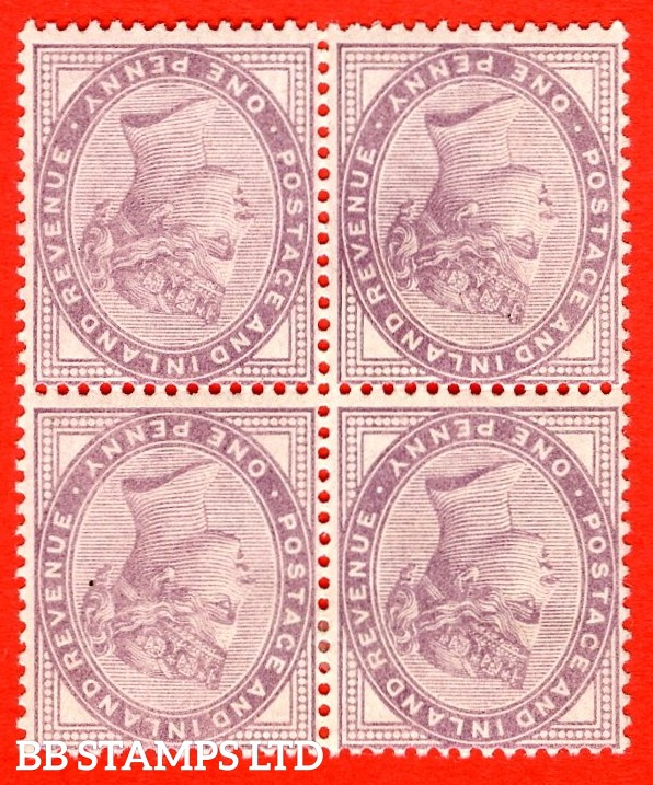 SG. 172 wi. K8 (1) d. 1d lilac. INVERTED WATERMARK. A very fine mint ( 2 stamps UNMOUNTED MINT ) block of 4.
