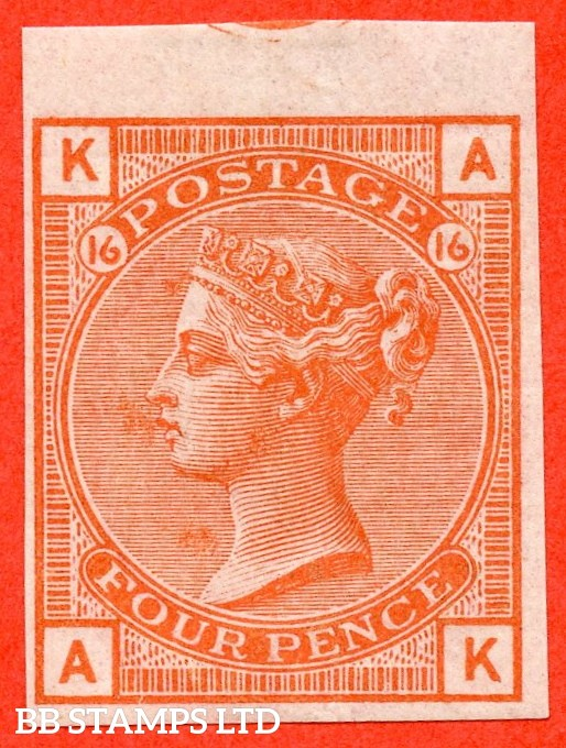 "SG. 152. J63. "" AK "". 4d vermilion plate 16. "" ABNORMAL "". A superb mint IMPRIMATUR of this RARE Victorian issue of which very few are in private hands. A GREAT RARITY."