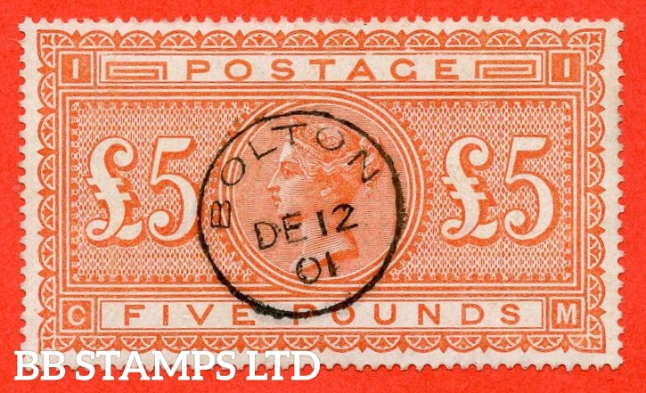 """SG. 137. J128a. """" CM """". £5.00 Orange. A superb """" 12th December 1901 BOLTON """" CDS used example complete with BRANDON certificate."""