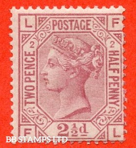 "SG. 139. J2. "" FL "". 2½d rosy mauve. Plate 2. A very fine UNMOUNTED MINT example."