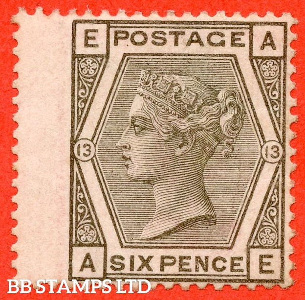 """SG. 147. J83. """" AE """" 6d Grey plate 13. A very fine UNMOUNTED MINT example."""