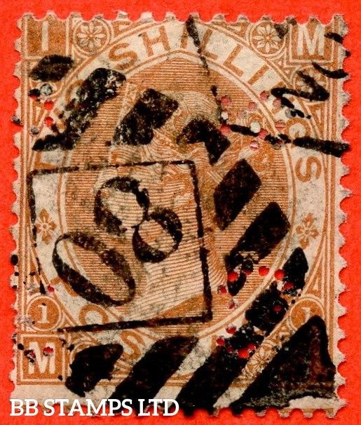 """SG. 121. J120. """" MI """". 2/- Brown. A good used example of this scarce Victorian issue. Re-perfed at right and perfin but a superior spacefiller."""