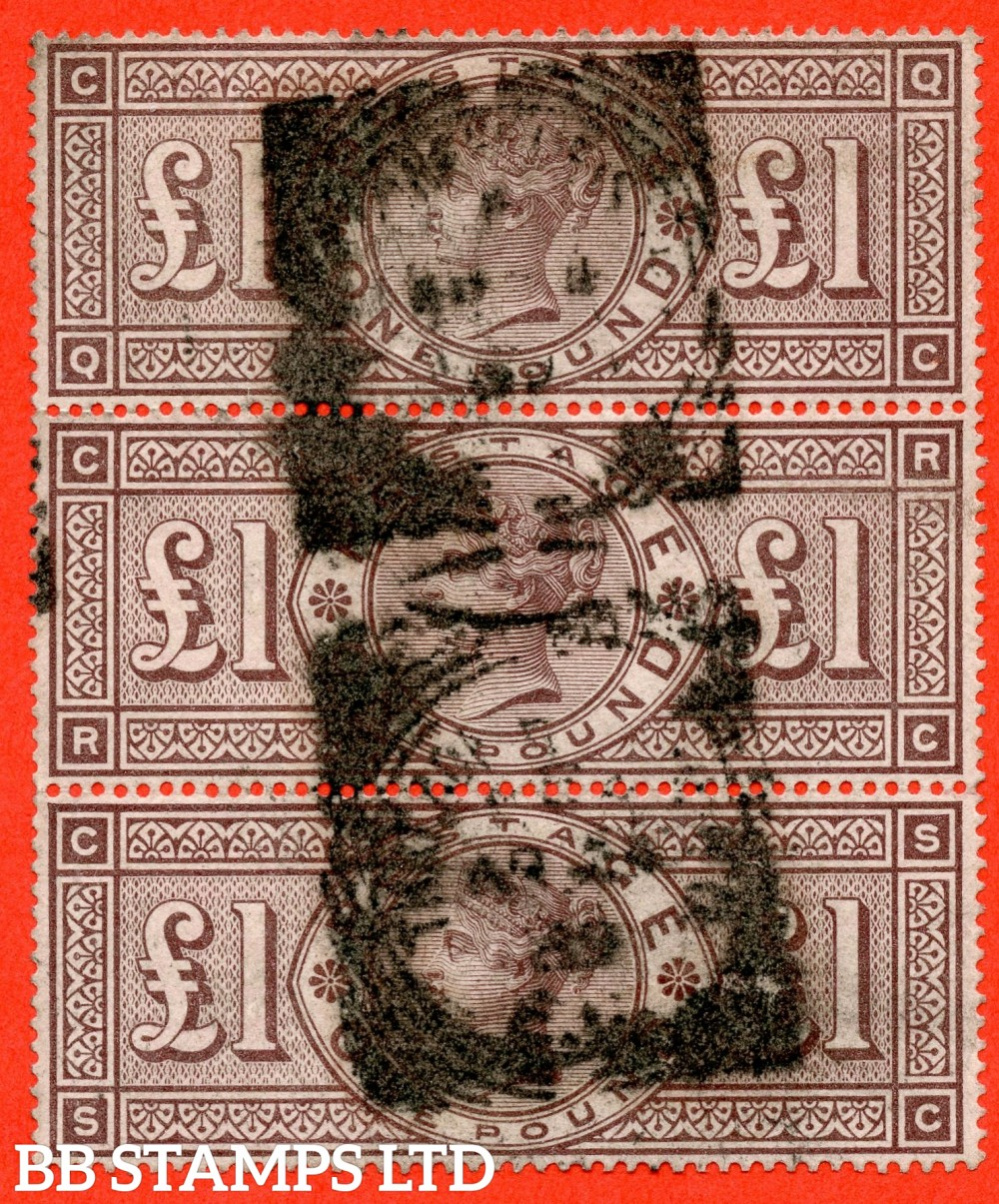 """SG. 186. K16. """" QC RC SC """". £1.00 Brown - Lilac. A good used vertical strip of 3. A RARE multiple."""