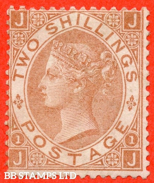 """SG. 121. J120. """" JJ """". 2/- Brown. A fine lightly mounted mint example of this RARE mint Victorian issue."""