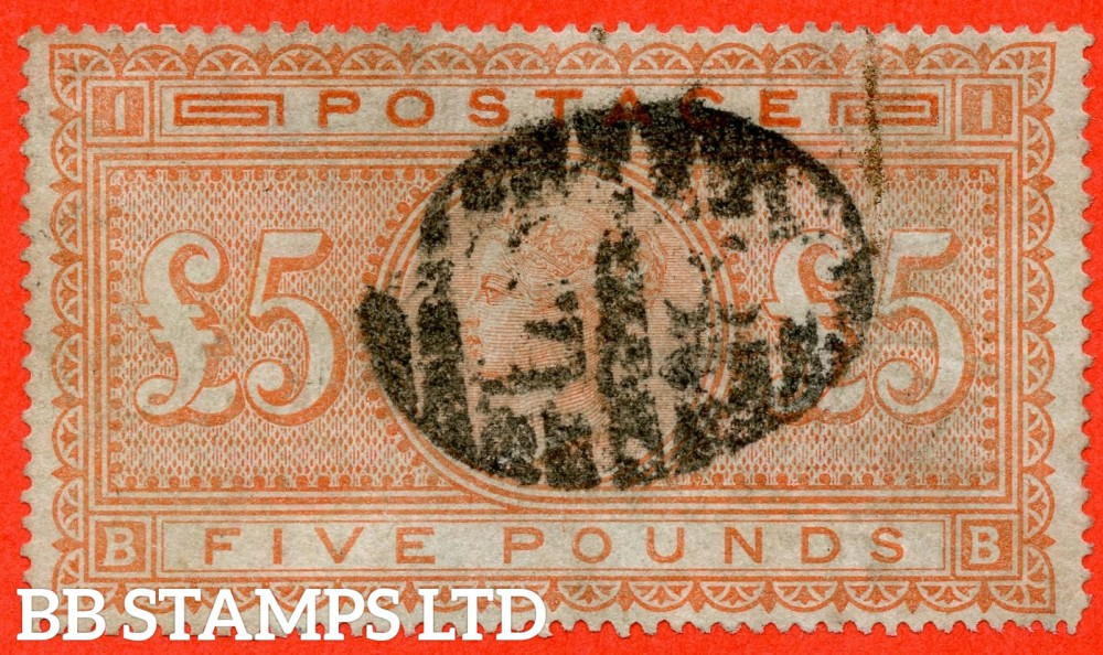 "SG. 133. J128. "" BB "". £5.00 Orange ( Blued paper ). A good used example."