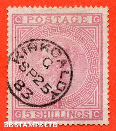 "SG. 130. J123. "" GC "" 5/- Rose. "" blued paper "". A very fine "" 25th September 1883 KIRKCALDY "" CDS used example."