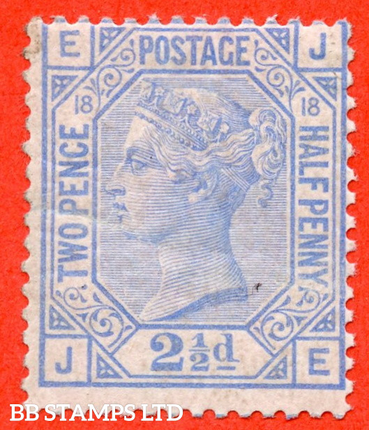 """SG. 142. J20. """" JE """". 2½d Blue. Plate 18. A super UNMOUNTED MINT example."""