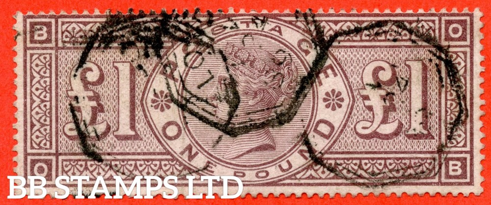 "SG. 186. K16. "" OB "". £1.00 Brown - Lilac. A fine used example of this RARE Victorian high value."