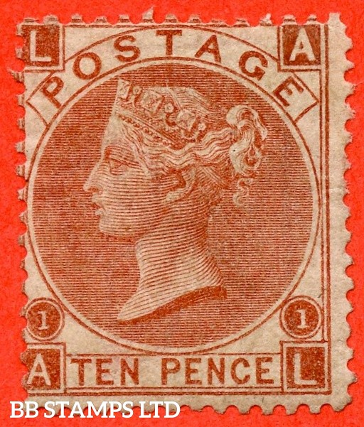 """SG. 114. J97 (3).  """" AL """". 10d Deep Red Brown. An average mint example."""