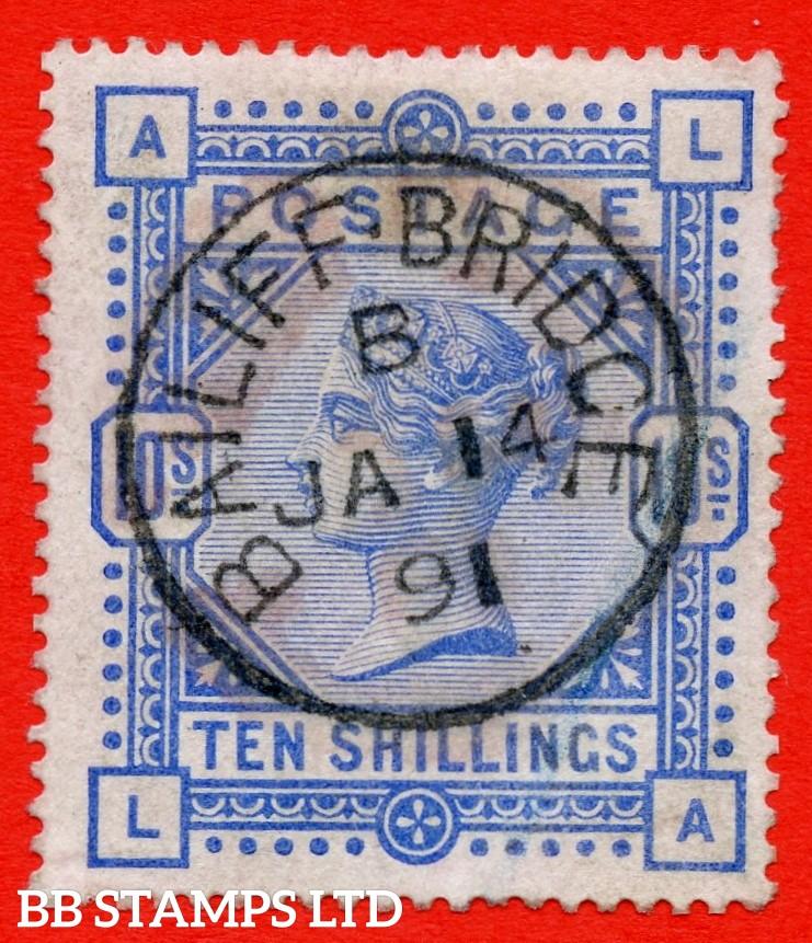 "SG. 183. K14 (2). "" LA "". 10/- ultramarine. A very fine "" 14th January 1891 BAILIFFBRIDGE "" CDS used example."