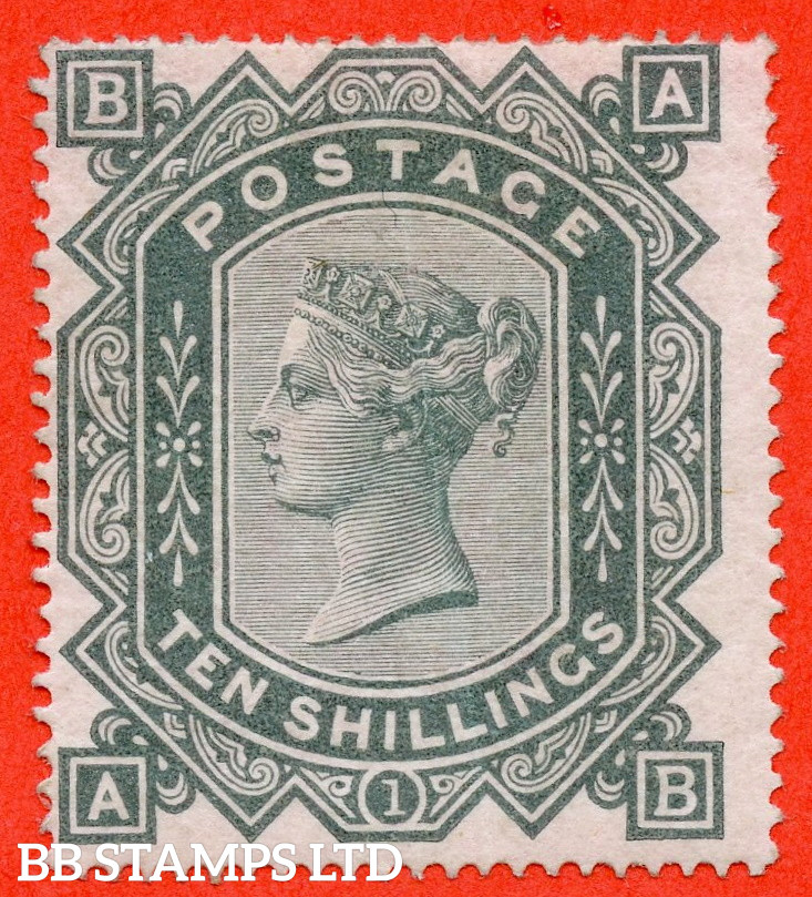 """SG. 128. J124. """" AB """". 10/- greenish grey. A lightly mounted mint example of this RARE mint Victorian issue complete with BPA certificate. Small faults but a very presentable example of this RARE mint Victorian high value."""