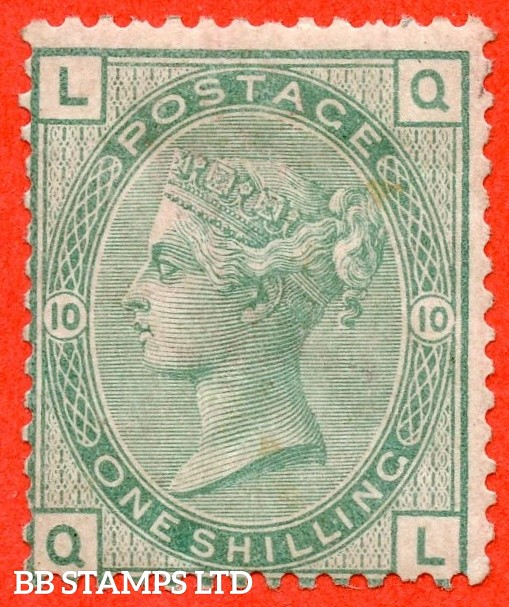 """SG. 150. J110. """" QL """". 1/- green. Plate 10. A fine mounted mint example."""