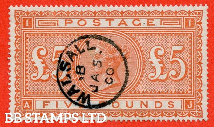 "SG. 137. J128a. "" AJ "". £5.00 Orange. A very fine "" 5th January 1900 WALSALL "" CDS used example."
