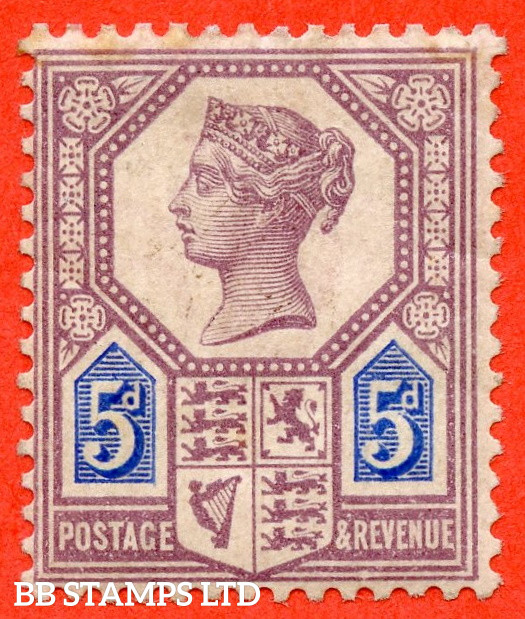 SG. 207. K35. 5d Dull Purple & Blue ( Die 1 ). A fine mounted mint example of this very scarce Jubilee issue.