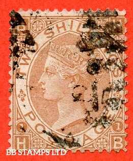 """SG. 121. J120. """" HB """". 2/- Brown. A good / fine used example of this scarce Victorian issue with a nice clear profile."""