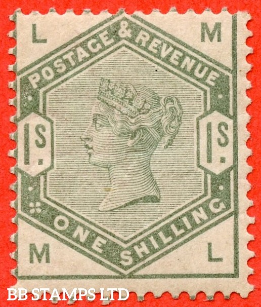 """SG. 196. K26. """" ML """". 1/- dull green. A fine mounted mint example of this difficult mint Victorian stamp."""