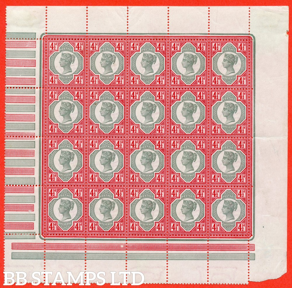 SG. 206. K34 (1). 4½d green & carmine. A very fine UNMOUNTED MINT ( mounted in the margin only ) complete pane of 20.
