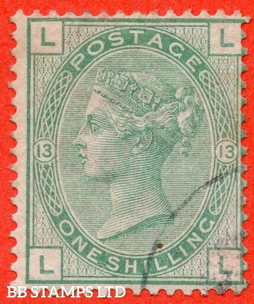 "SG. 150. J113. "" LL "". 1/- green. Plate 13. A very fine small part CDS used example leaving a wonderful clear profile."