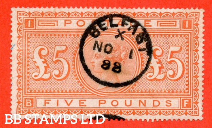 "SG. 137. J128a. "" BF "". £5.00 Orange. A very fine "" 1st November 1888 BELFAST "" CDS used example."