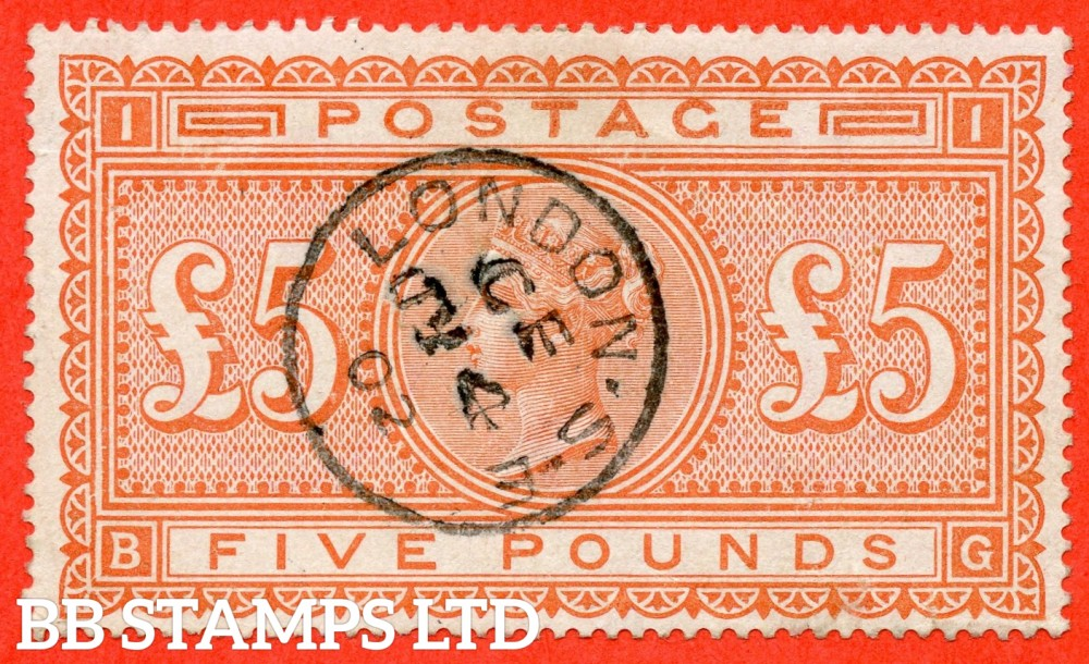 """SG. 137. J128a. """" BG """". £5.00 Orange. A very fine used example cancelled by a fine """" 4th July 1902 LONDON """" CDS."""
