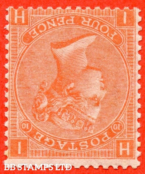 """SG. 94 wi. J57. """" IH """". 4d Deep Vermilion. Plate 10. INVERTED WATERMARK. A superb UNMOUNTED MINT example complete with RPS certificate."""