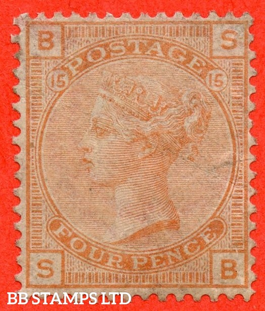 """SG. 152. J62. """" SB """". 4d vermilion plate 15. An average mint example of this scarce Victorian Surface printed issue."""