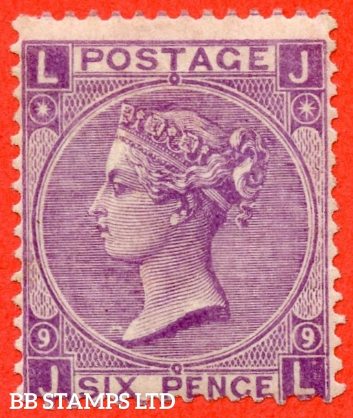 """SG. 109. J77. """" JL """". 6d Mauve. Plate 9. A very fine mounted mint example."""