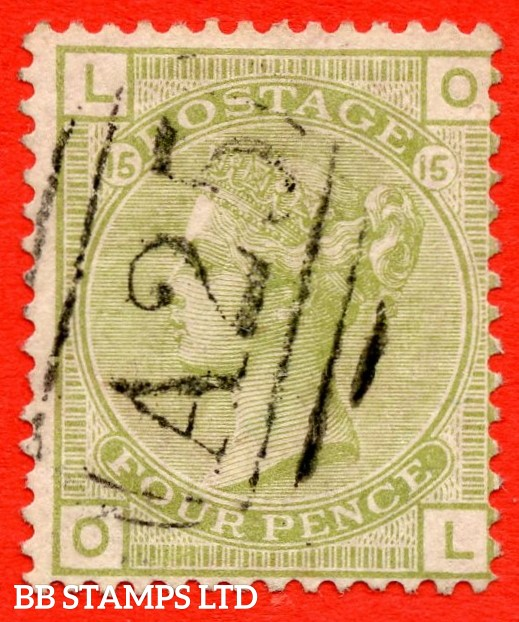 "SG. 153. J64. Z51. "" OL "". 4d Sage - Green. Plate 15. A very fine used example cancelled by a "" A25 "" duplex of MALTA."