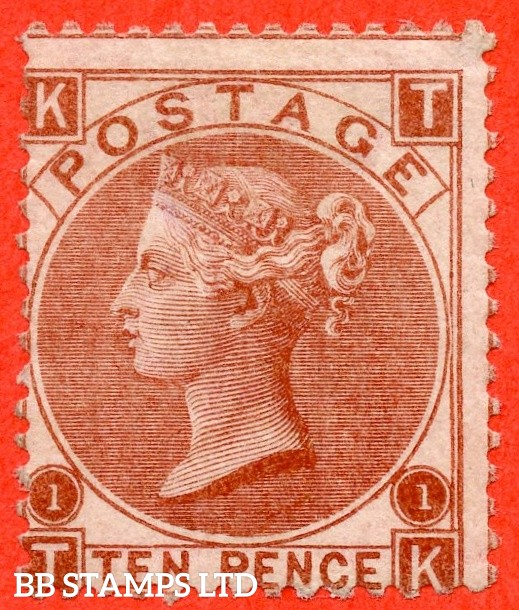 """SG. 112. J97 (1). """" TK """". 10d red brown. Plate 1. A decent average mint example."""