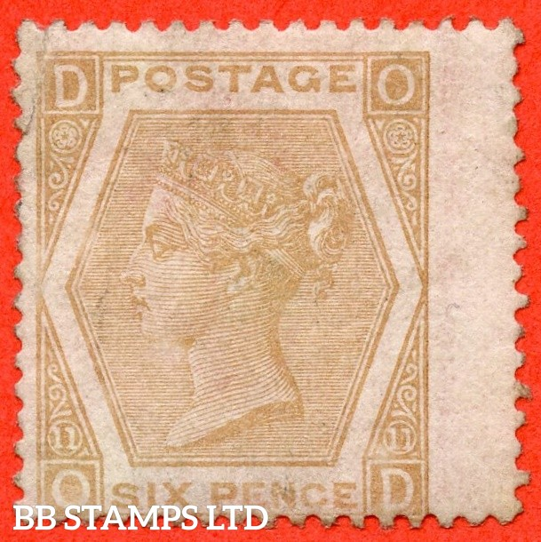 "SG. 123. J79 (5). "" OD "". 6d pale buff plate 11. An average mounted mint example."