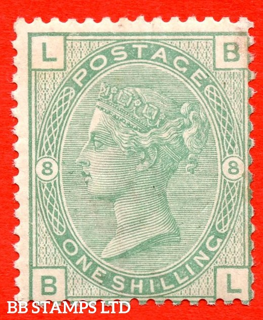 """SG. 150. J108. """" BL """". 1/- green. Plate 8. A fine UNMOUNTED MINT example of this difficult mint Victorian stamp."""