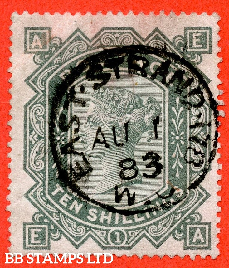 "SG. 135. J125 a. "" EA "". 10/- greenish grey. A fine "" 1st August 1883 EAST STRAND "" CDS used example."