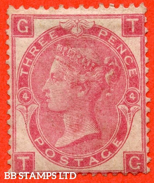 """SG. 103. J29. """" TG """". 3d rose. Plate 4. A fine mounted mint example."""