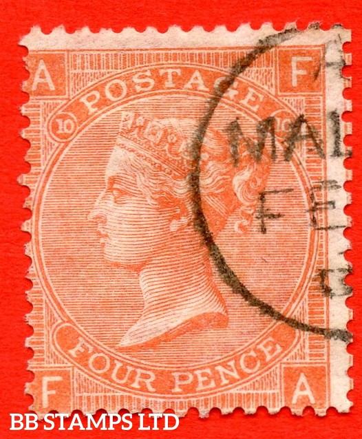 """SG. 94. J57. """" FA """". 4d Vermilion. Plate 10. A fine part """" MALTA """" CDS used example with a lovely clear profile."""