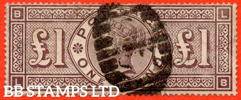 """SG. 185. K15. """" LB """". £1.00 Brown - Lilac. A good used example of this RARE Victorian high value."""