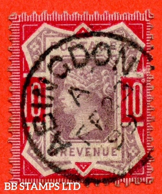 """SG. 210a. K39 (2). 10d dull purple and deep bright carmine. A fine """" 23rd February 1899 ABINGDON """" CDS used example of this difficult Jubilee shade variety."""
