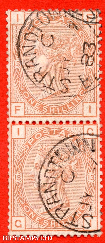 "SG. 163. J116. "" FI GI "".1/- orange - brown plate 13. A very fine 2 July 1883 STRANDTOWN "" CDS used vertical pair."