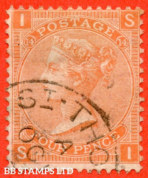 """SG. 93. J61. """" SI """". 4d Dull Vermilion. Plate 14. A fine part """" ST. THOMAS """" CDS used example."""