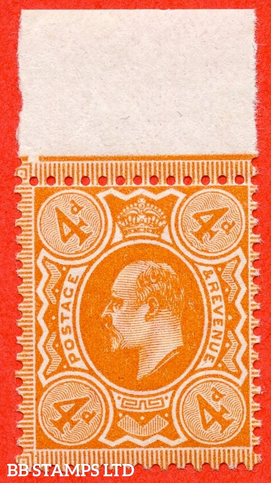 SG. 278. M26 (1). 4d Bright Orange. A super UNMOUNTED MINT top marginal example complete with RPS certificate.