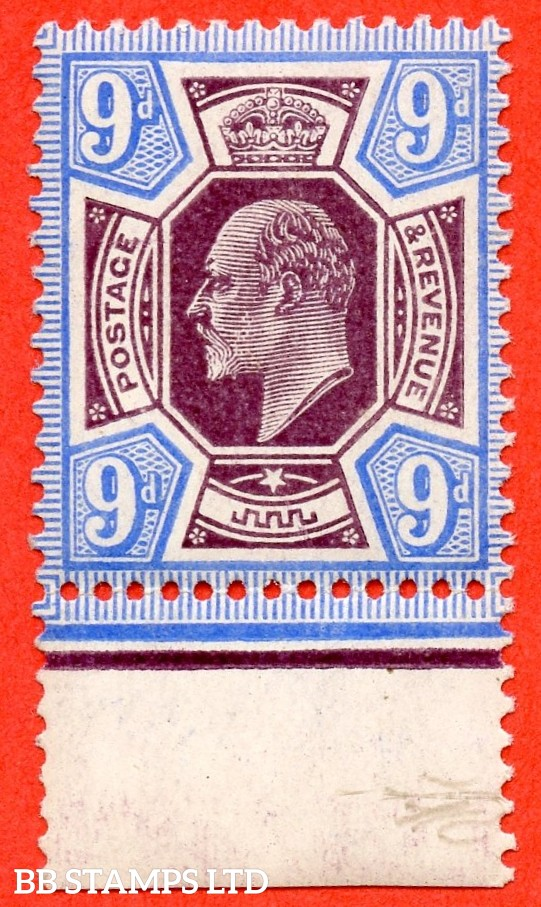SG. 251a. M40 (3). 9d Slate Purple & Ultramarine ©. A super UNMOUNTED MINT bottom marginal example complete with RPS certificate.