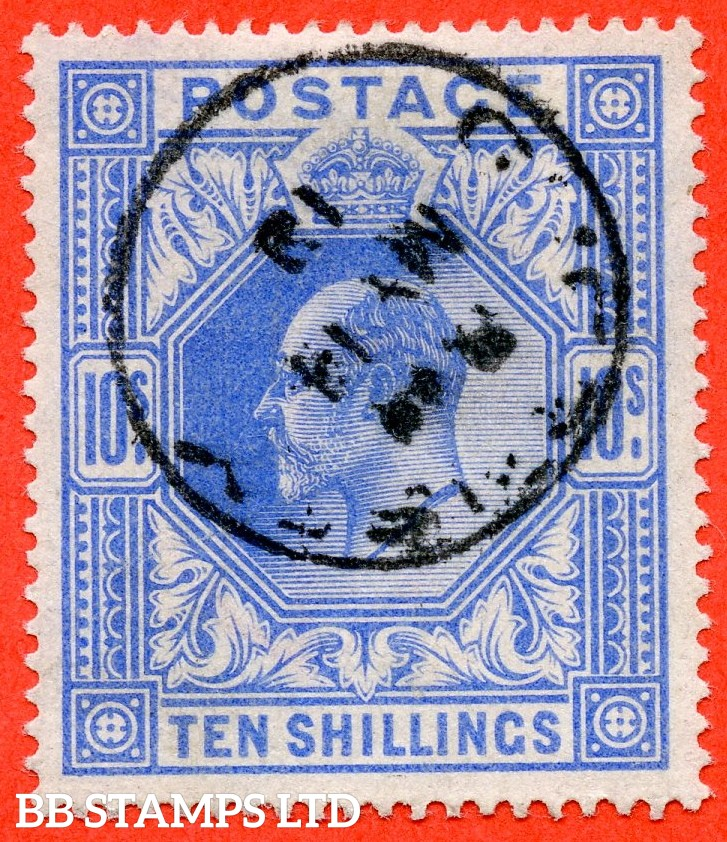 "SG. 319. Variety M54 (3). 10/- Deep Blue. A very fine "" 14th May GUERNSEY "" CDS used example."