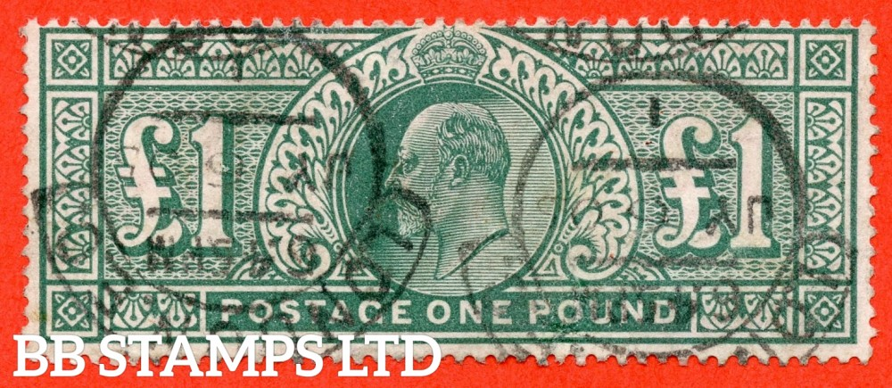 """SG. 266. M55. £1.00 Dull blue - green. A fine """"July 6th 1905 LONDON """" CDS used example."""
