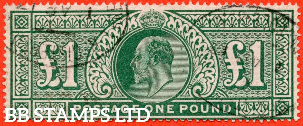 "SG. 320. M56. £1.00 Deep Green. A very fine "" 1st April 1913 "" used example."